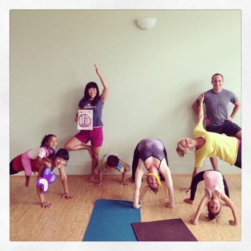 Family Yoga Playshop at Durham Yoga Company, August 2013