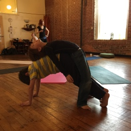 Sam and Andrew practice partner yoga in Tweens Yoga, February 2015.